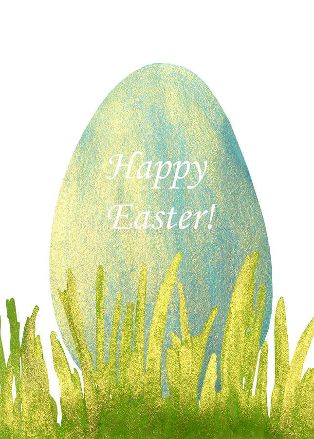 Hand-drawn with paints pearly grass and blue Easter egg with text Happy Easter!. Hand-drawn with paints pearly grass and Easter egg with text Happy Easter stock illustration