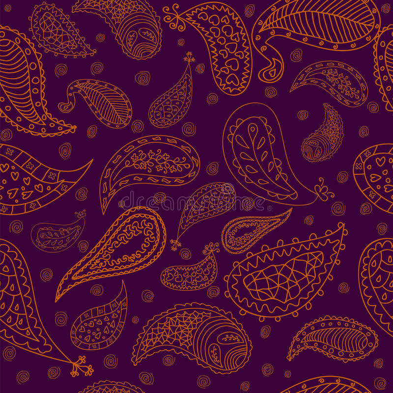 Download Hand Drawn Paisley Elements Vector Seamless Patter Stock Images - Image: 37790754