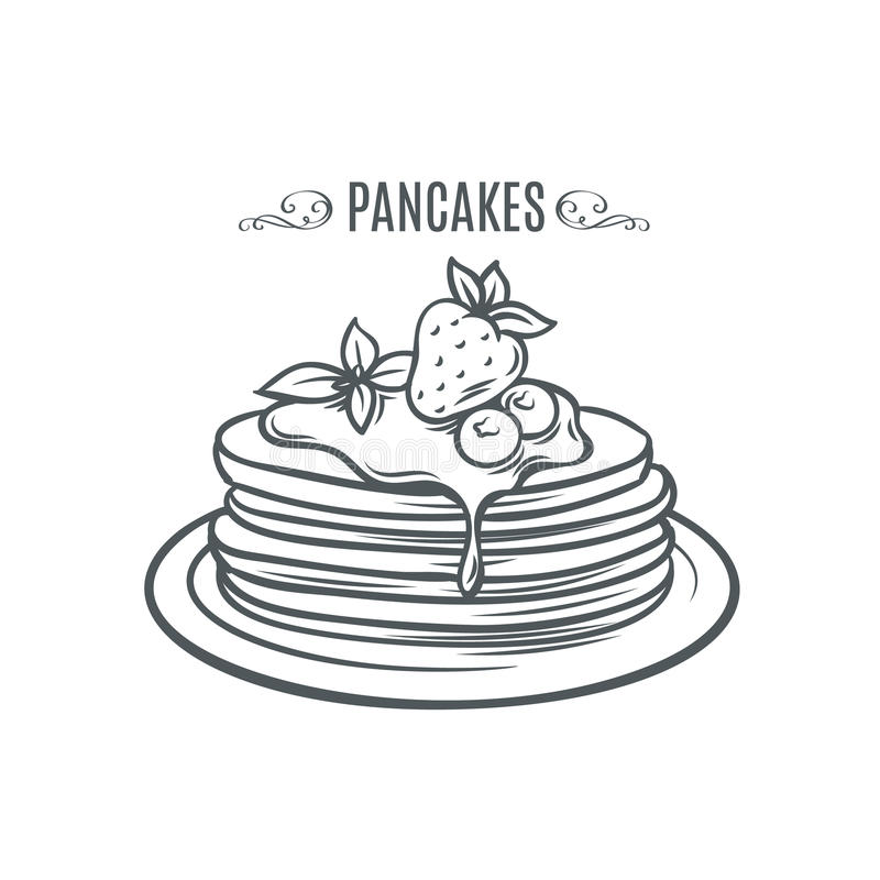 Hand drawn pancakes with strawberries and syrup. Decorative icon pancakes in an old style ink. Vector illustration of Pancakes on a plate stock illustration
