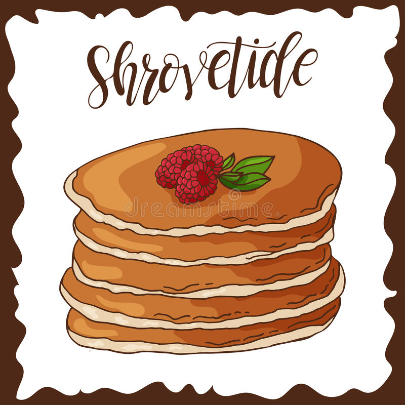Hand drawn pancakes. Vector illustration with lettering. Russian holiday. Shrovetide vector illustration