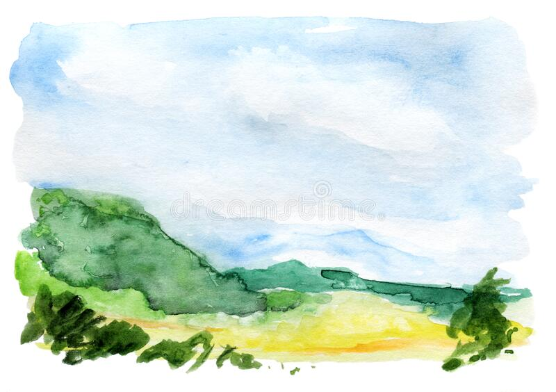 Hand drawn panoramic european landscape watercolor background. stock photography