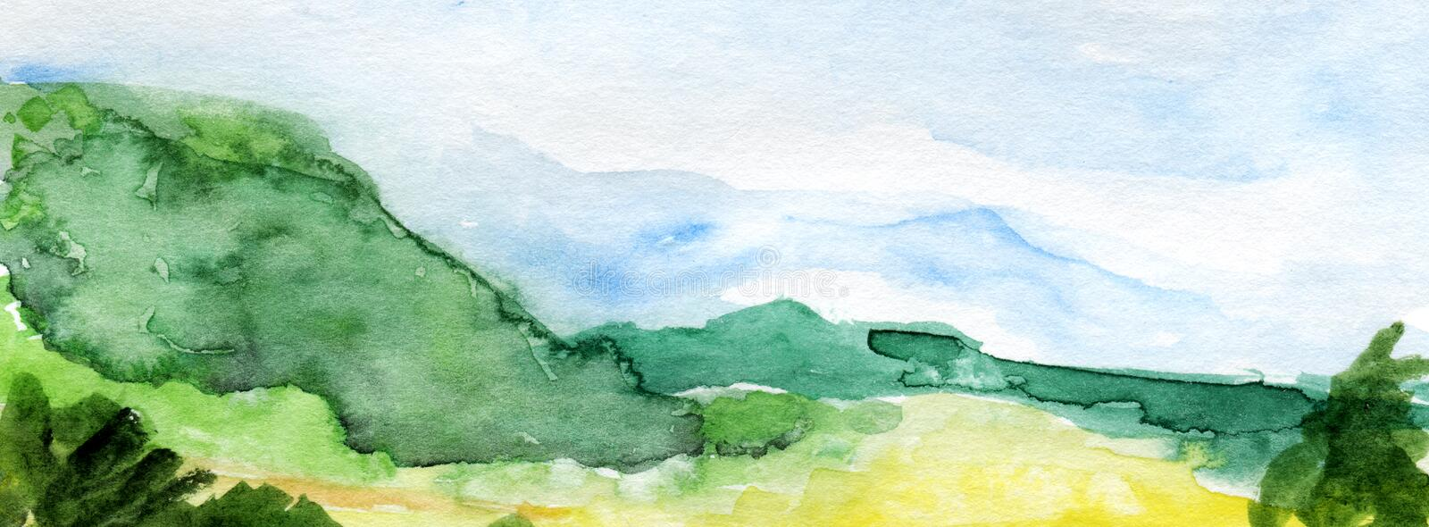 Hand drawn panoramic european landscape watercolor background. stock photos