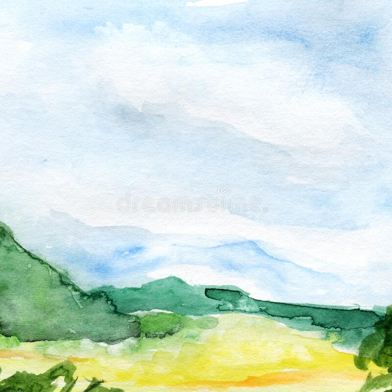 Hand drawn panoramic european landscape watercolor background. royalty free stock photography