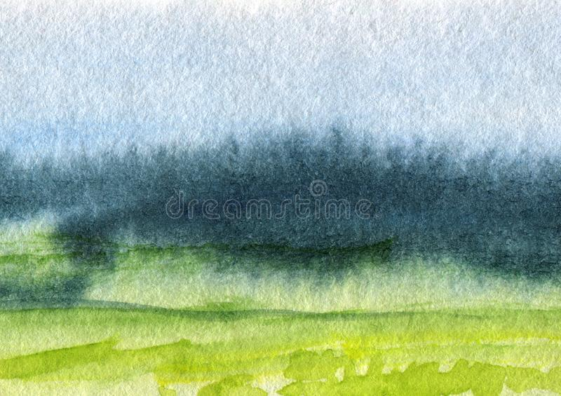 Hand Drawn Traditional Watercolor European Panoramic Landscape stock photo