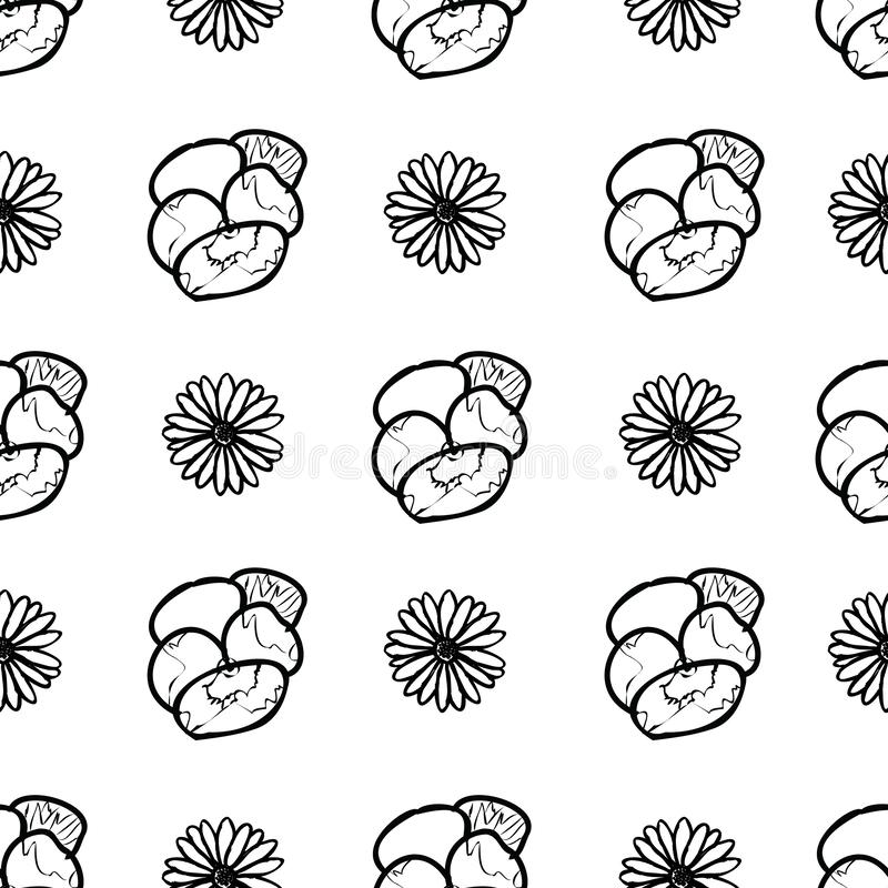 Hand drawn pansy and daisy flowers seamless pattern background. stock illustration