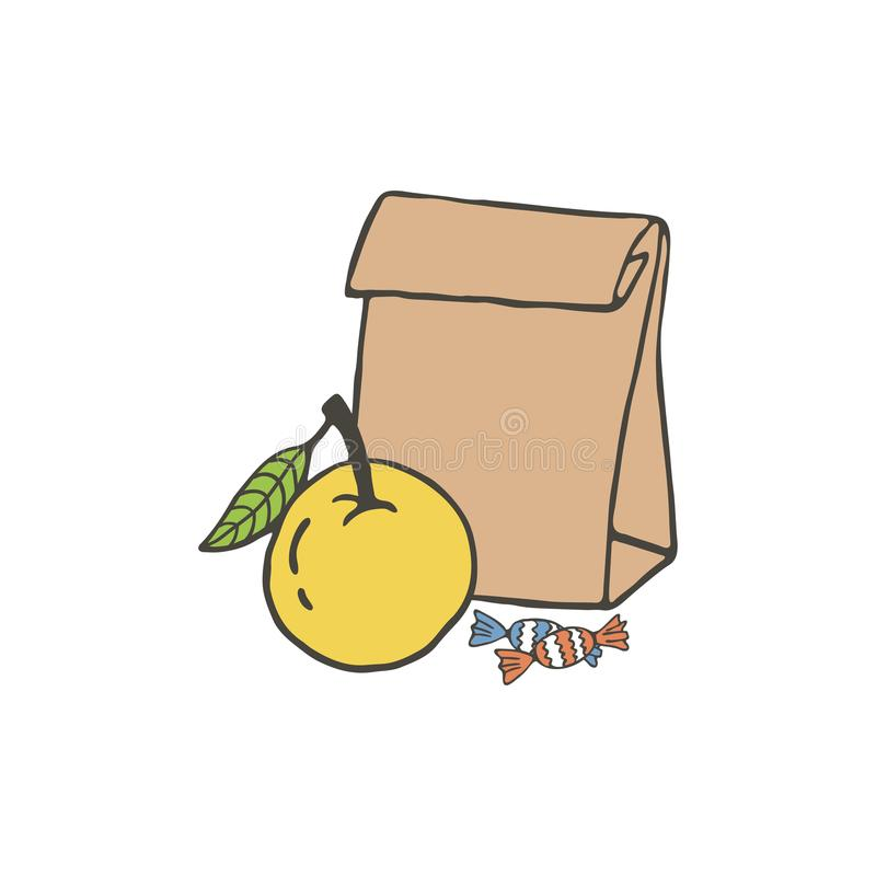 Vector illustration with school lunch. Hand drawn paper bag and apple. School lunch food vector illustration