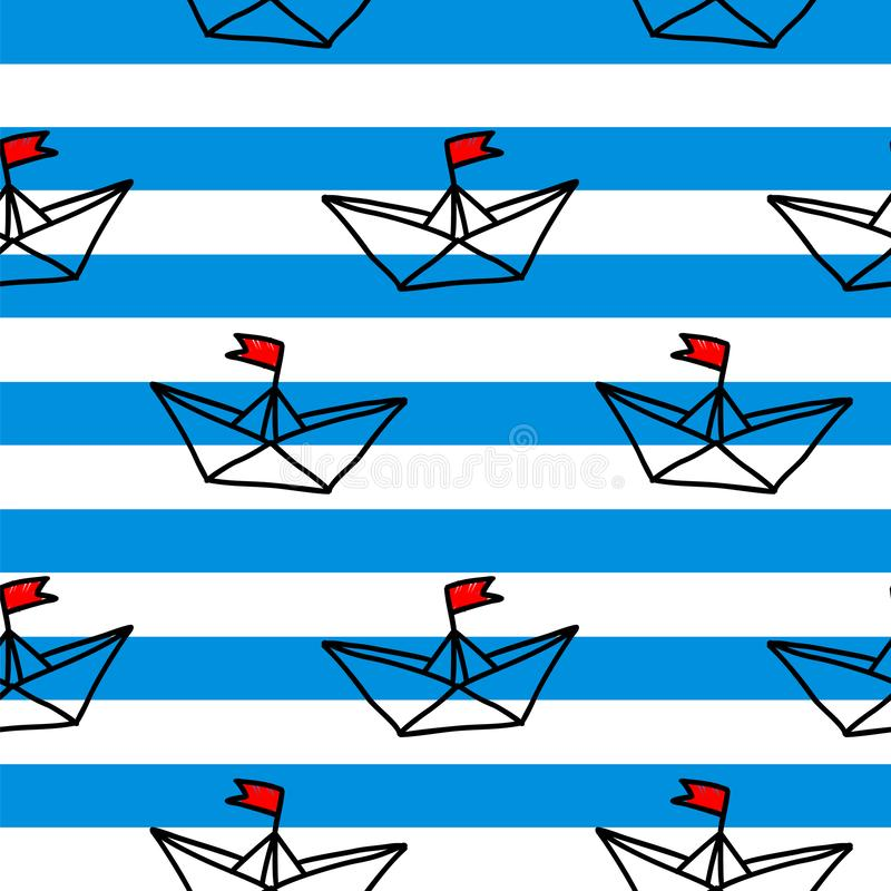 Hand drawn paper ships on the white and blue background seamless vector pattern.  stock illustration