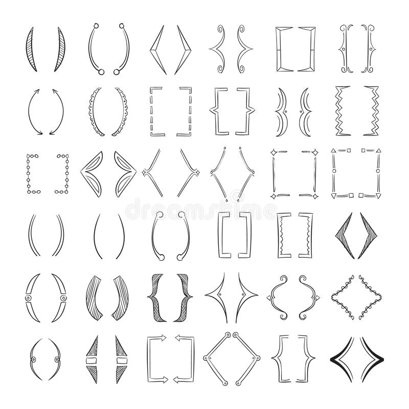 Hand drawn parenthesis, sketchy square brackets vector collection royalty free illustration