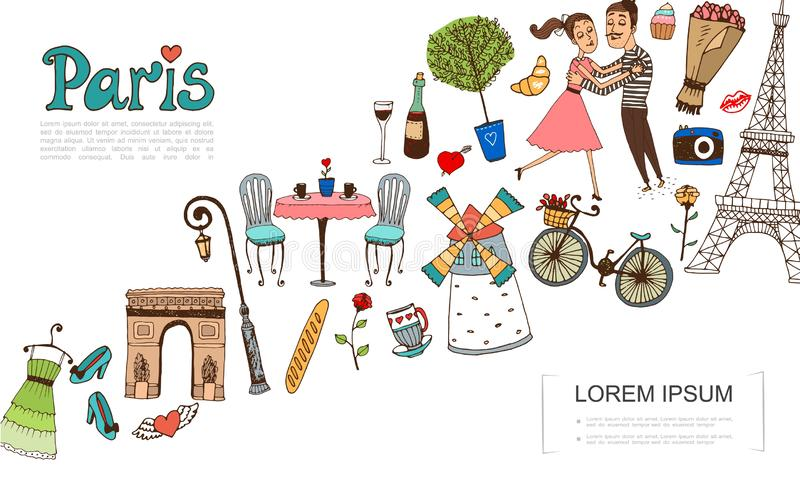 Hand Drawn Paris Elements Concept vector illustration