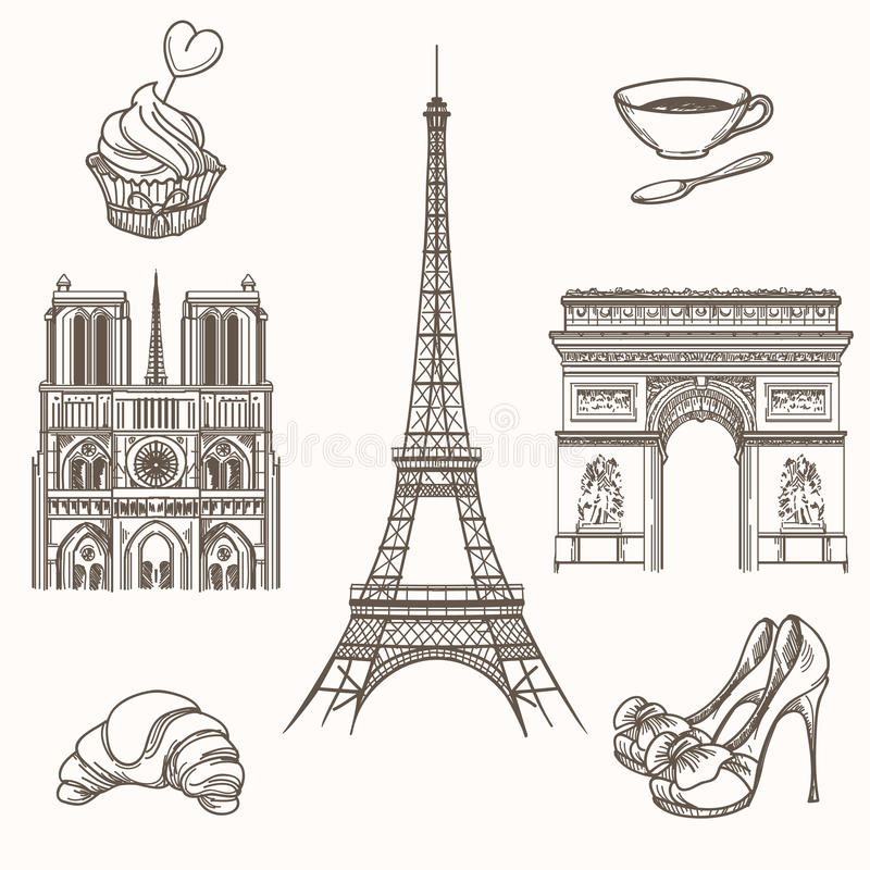 Hand drawn Paris symbols vector vector illustration