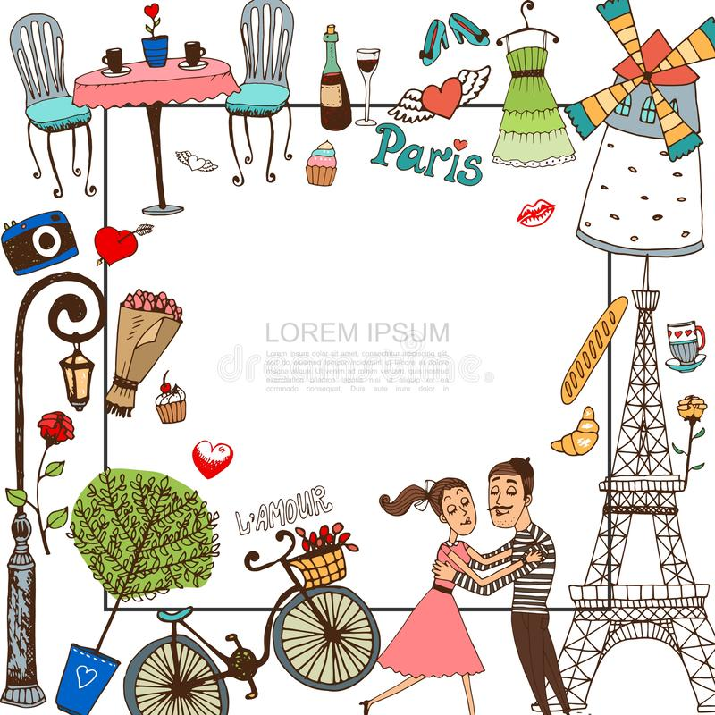 Hand Drawn Paris Template stock illustration