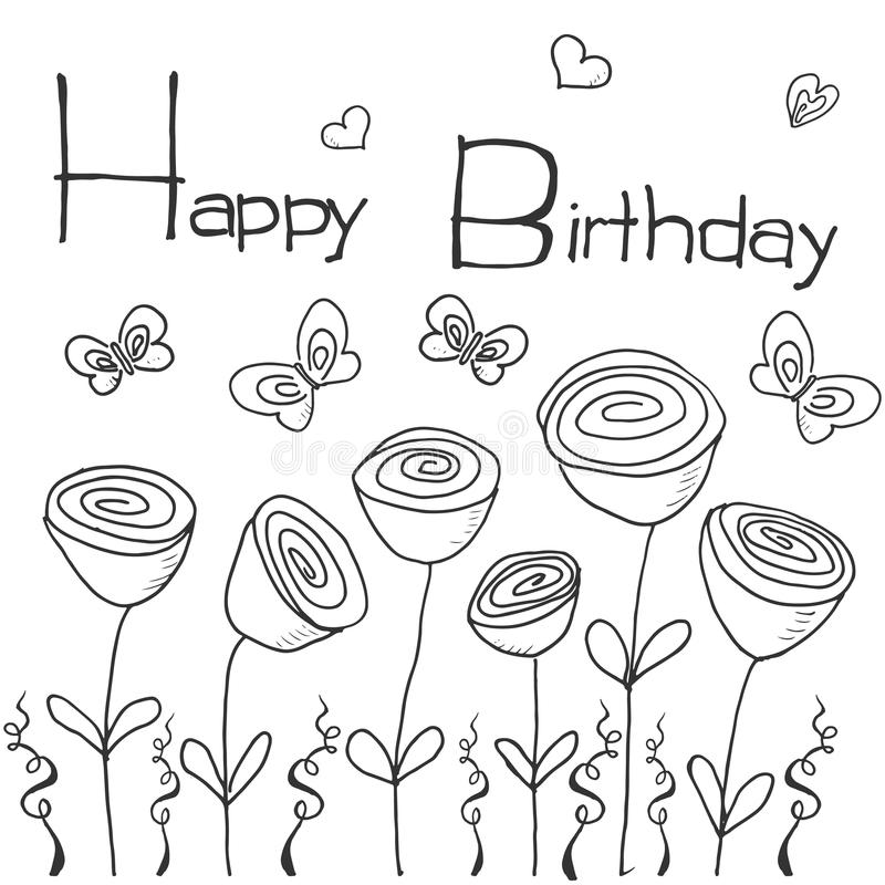 Hand Drawn Party Background With Flowers, Butterflies And ...