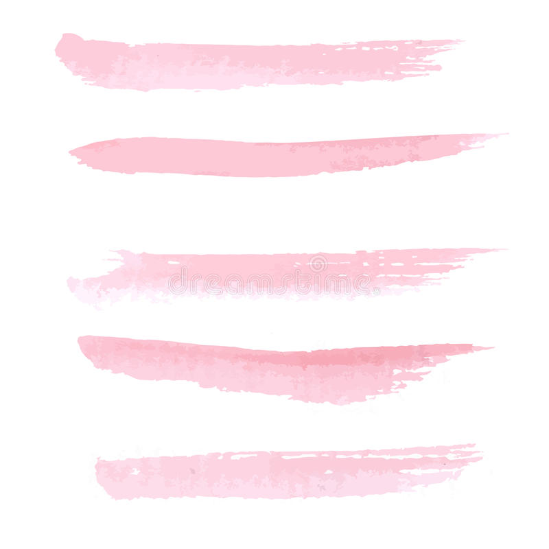 Hand drawn pastel pink color watercolor stock illustration