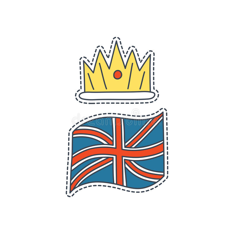 Hand drawn patch badges with United Kingdom symbol - crown and flag. Sticker, pin and patch in cartoon 80s-90s comic. Style royalty free illustration