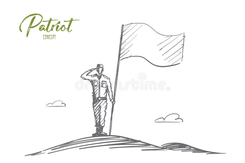 Hand drawn patriot soldier standing with flag vector illustration