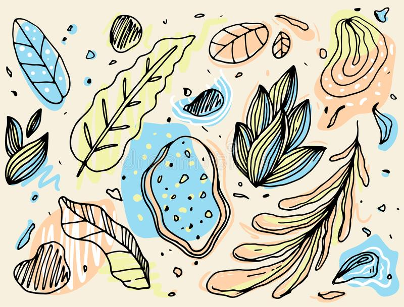 Hand Drawn Pattern Abstract Leaf outlined stock images