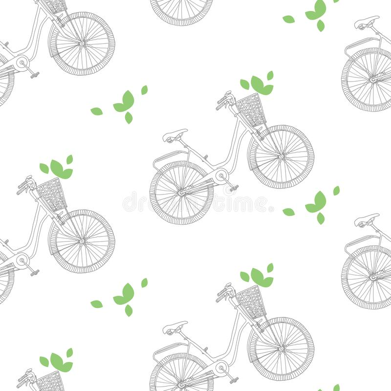 Hand drawn pattern of bicycle_2 vector illustration