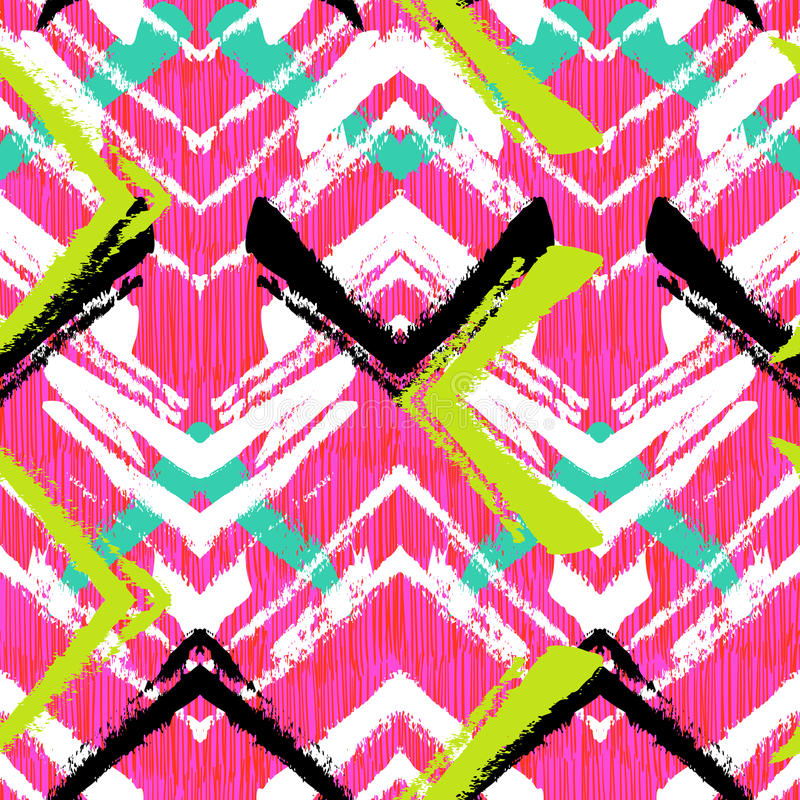 Hand drawn pattern with brushed zigzag line. vector illustration
