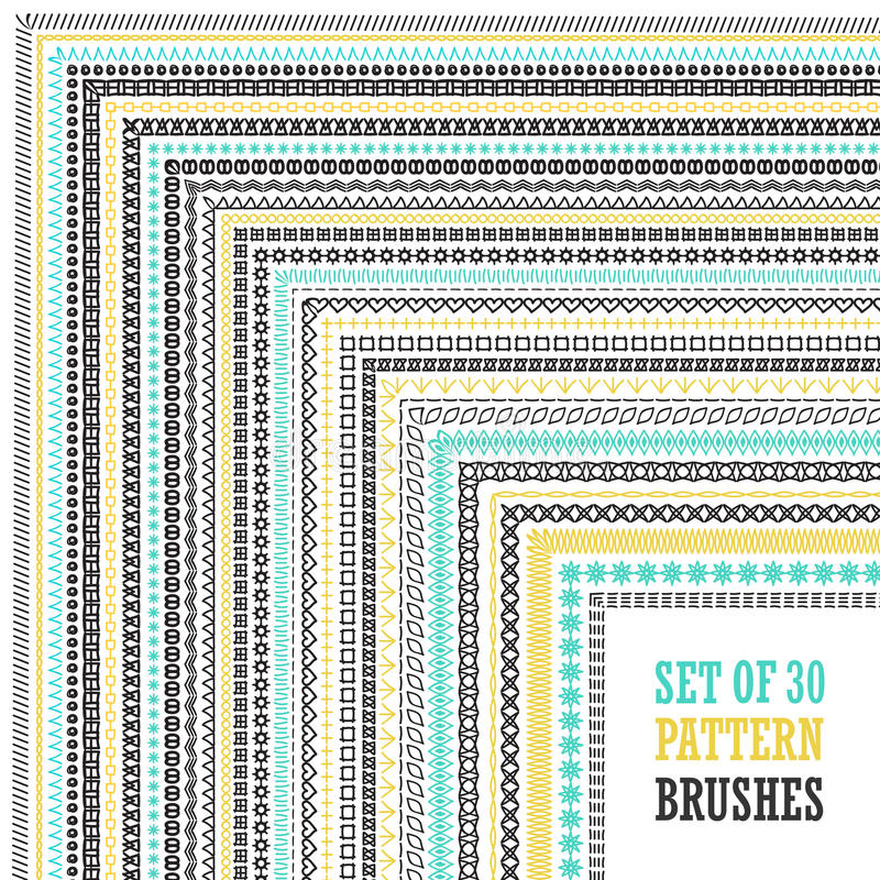 Hand Drawn Pattern Brushes Set stock illustration