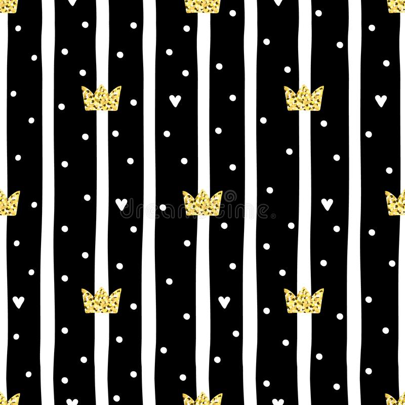 Hand drawn pattern with crown. Doodle design Little princess.  royalty free illustration