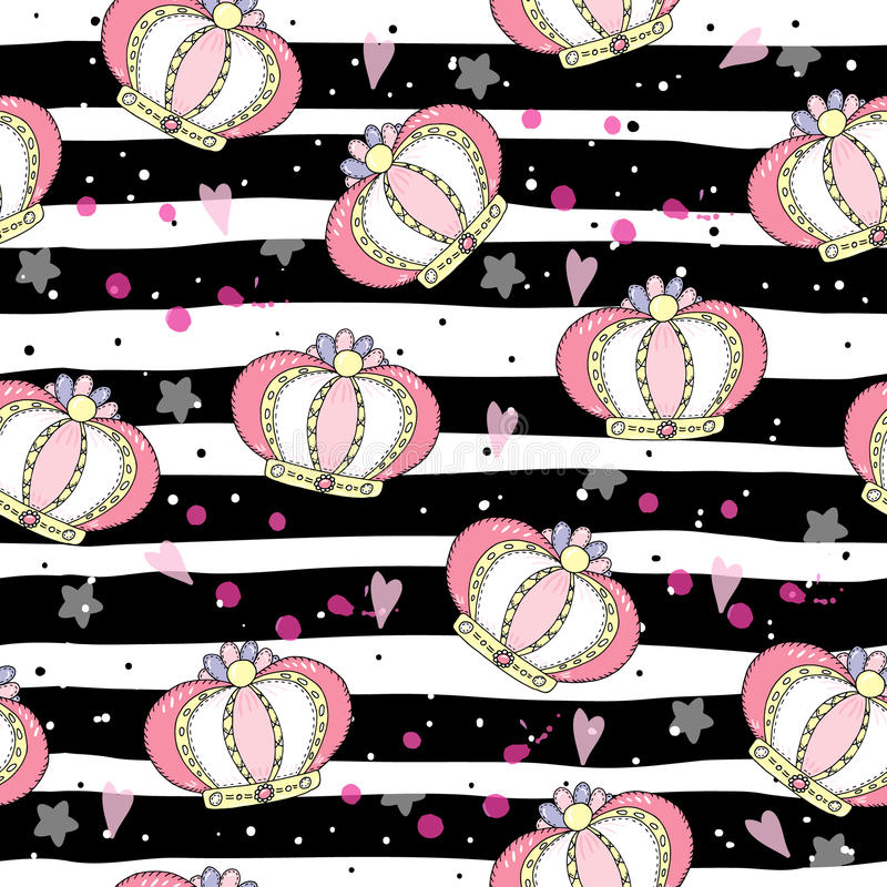 Hand drawn pattern with crown. Doodle design Little princess royalty free illustration