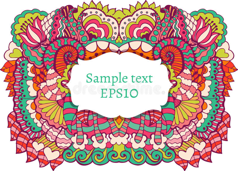 Hand drawn pattern. With flowers and leaves. Vector illustration. Frame with text royalty free illustration