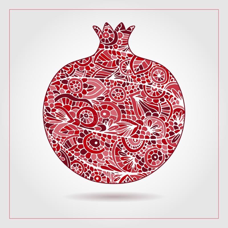 Hand drawn pattern with pomegranate ornaments and elements. Vector creative abstract pomegranate fruit. Decorative design for. Jewish holidays. Tu Bishvat stock illustration