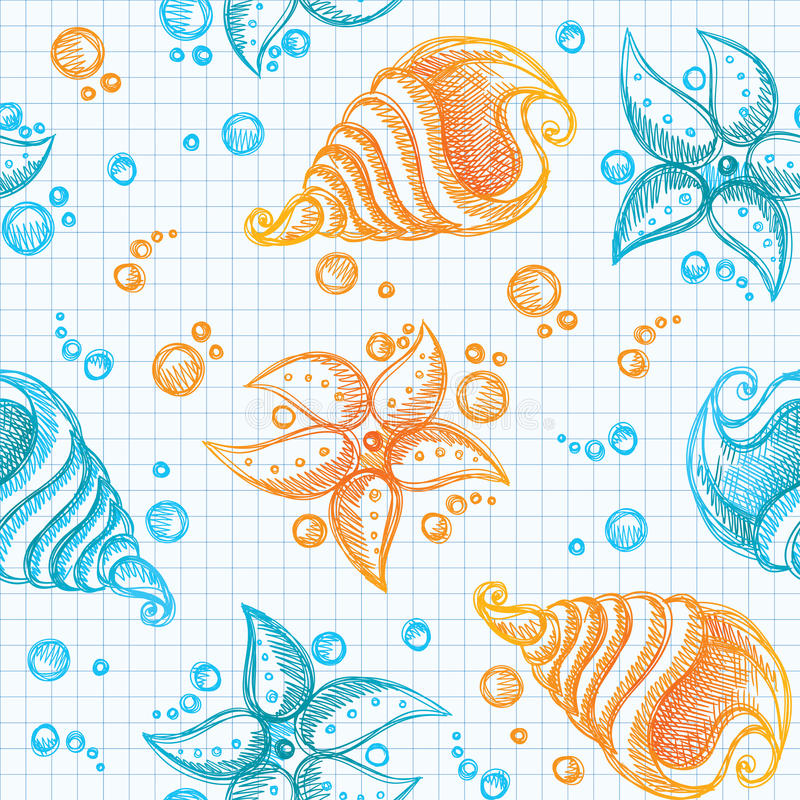 Hand drawn pattern of starfishes and shells royalty free illustration