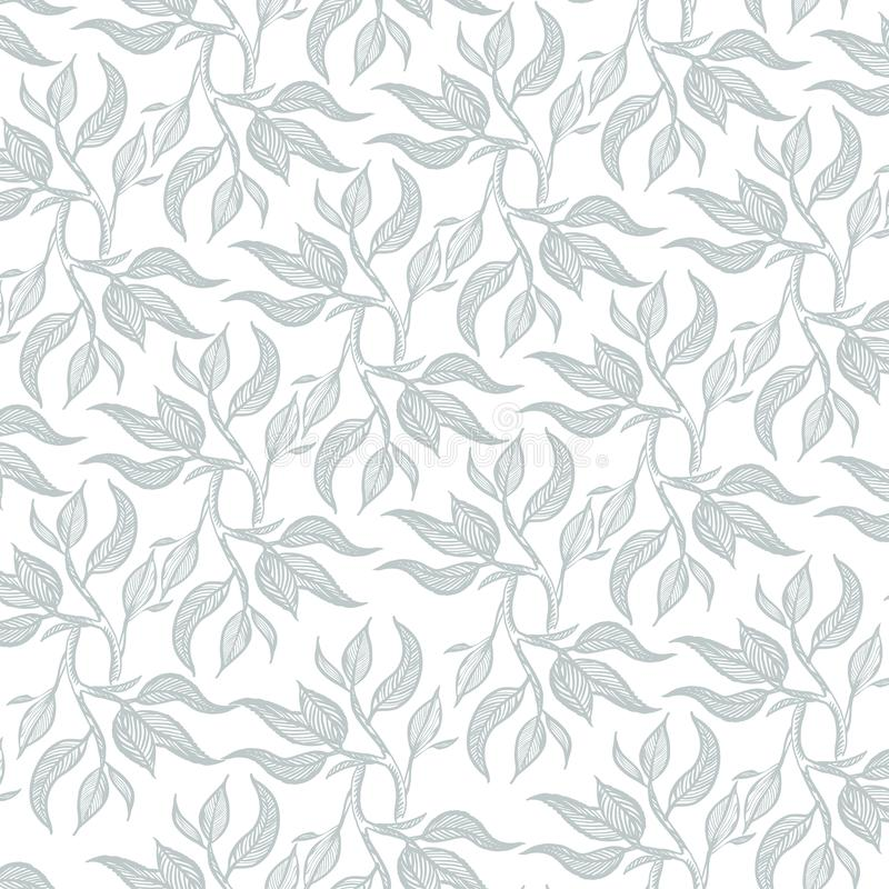 Hand drawn pattern tea leaves. Vector illustration royalty free stock images