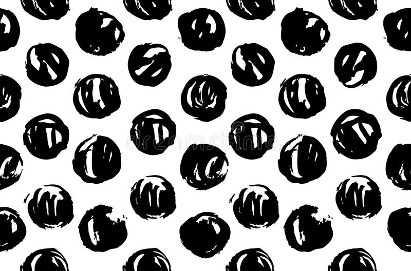 Hand drawn pattern texture repeating seamless monochrome. Black and white spots. Paint smears. Casual polka dot texture. Stylish d royalty free illustration