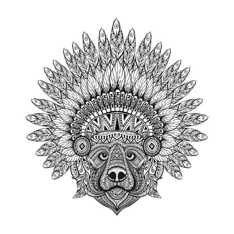 Hand Drawn patterned Bear in zentangle style in Feathered War b royalty free illustration