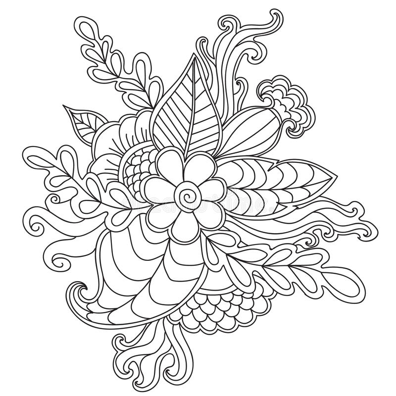 Hand drawn patterned floral frame in doodle style. vector illustration