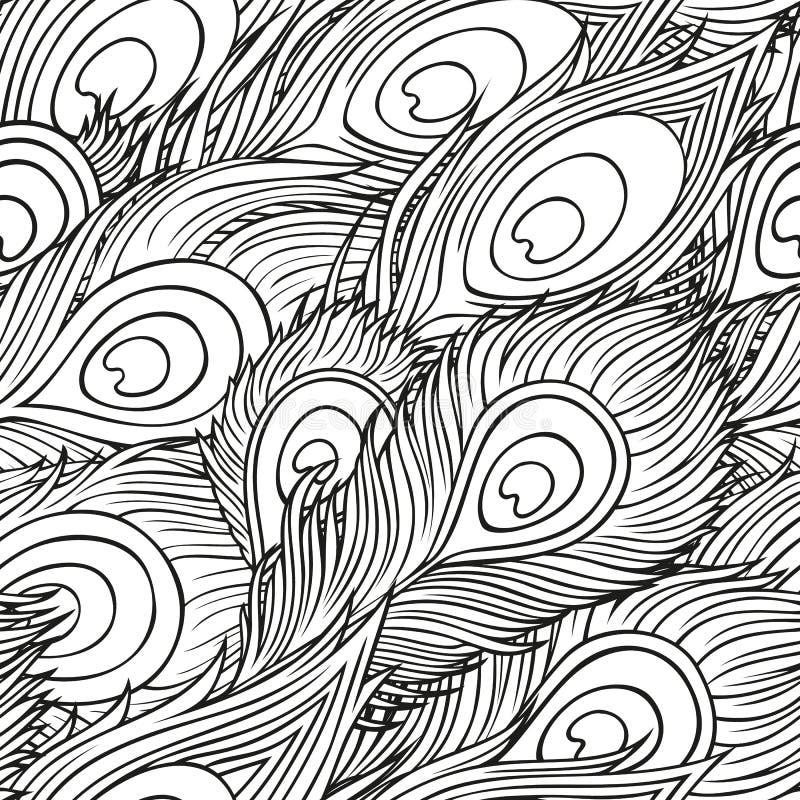 Hand-drawn pauwveren stock illustratie