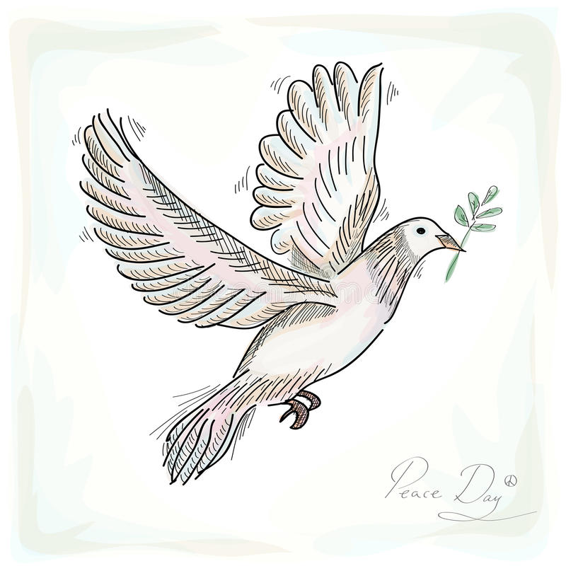 Free Hand Drawn Peace Dove Symbol With Texture Background EPS10 File. Royalty Free Stock Photos - 33821128