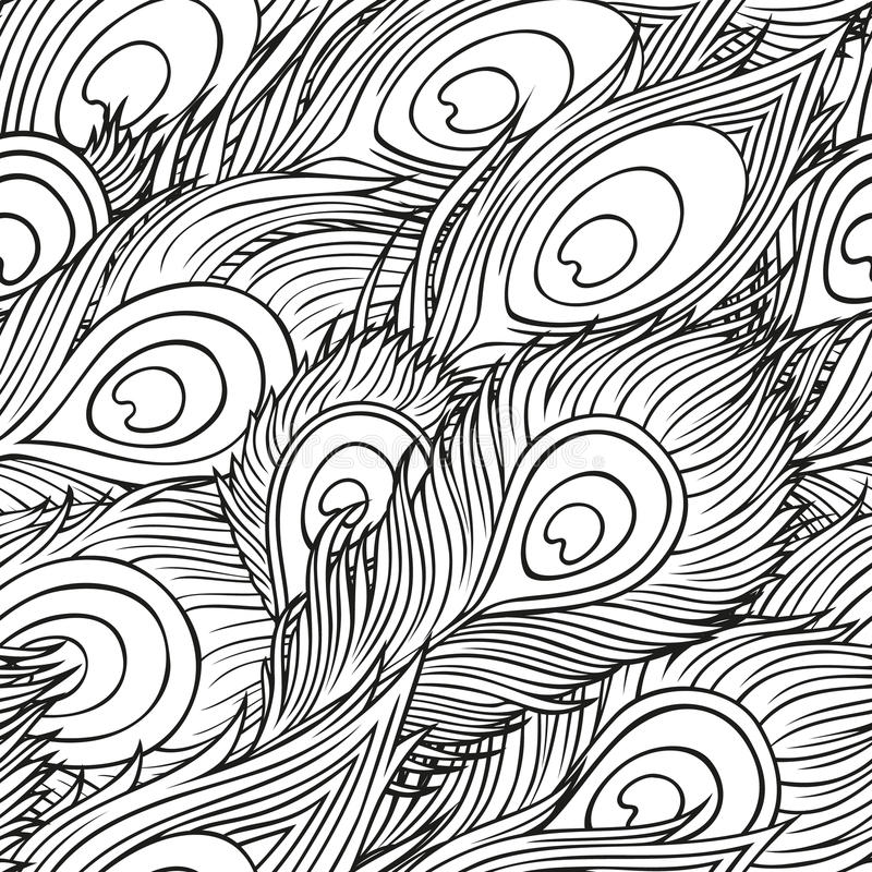 Hand-drawn peacock feathers stock illustration