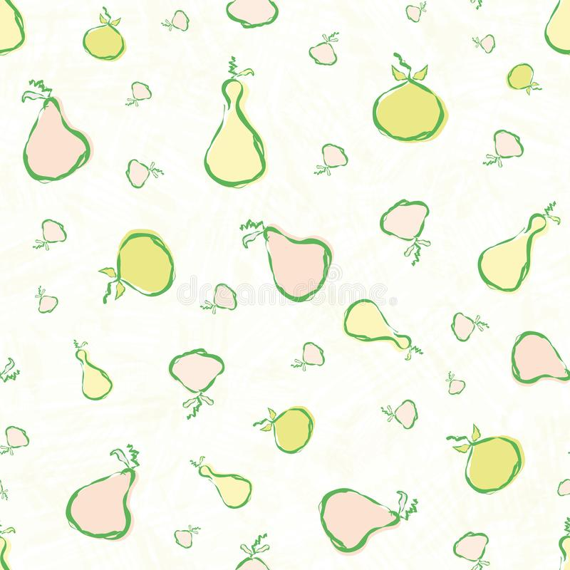 Hand drawn pears and apples in pastel green, pink and yellow. Fresh seamless vector pattern on yellow white watercolor vector illustration