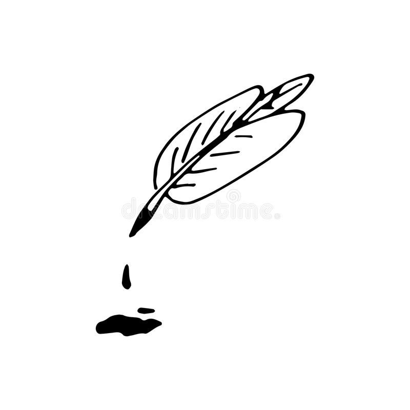 Hand Drawn pen in ink doodle. Sketch style icon. Decoration elem stock illustration