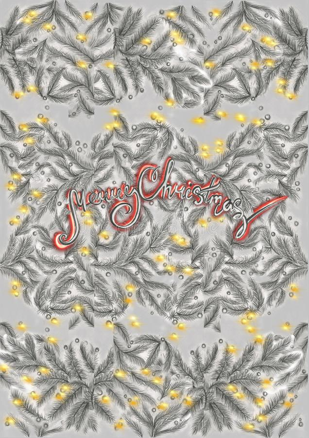 Hand drawn pencil pine spruce branches with small lights and red calligraphy words in the center stock illustration