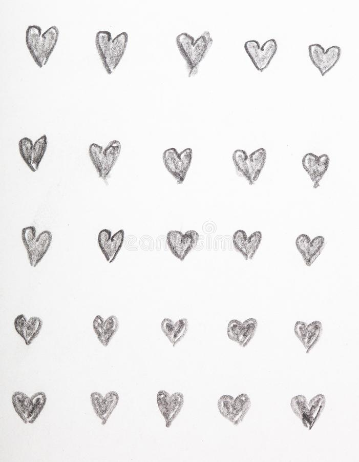 Hand drawn heart pencil sketches stock photography