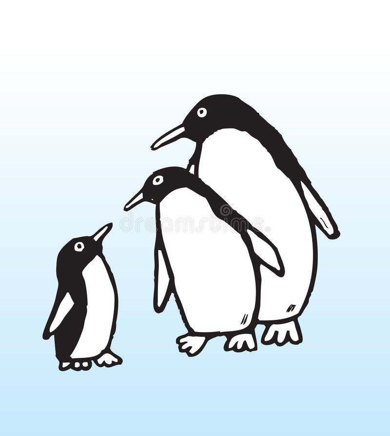 Download Hand drawn penguin family stock vector. Image of feed - 6461353