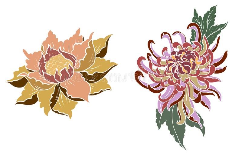 Hand drawn Peony flower,Lotus and chrysanthemum flower Chinese style vector art.Chinese tattoo design pink Peony flower. stock illustration