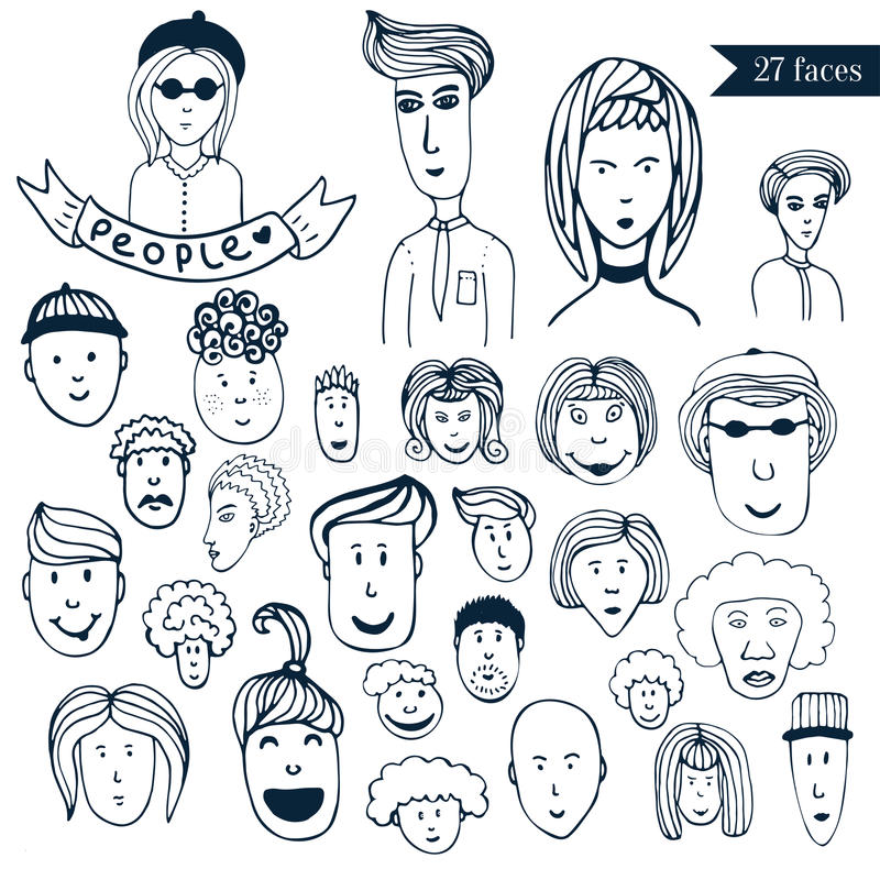 Hand-drawn people crowd doodle collection of avatars. 27 different funny faces. Cartoon vector set. People icons royalty free illustration