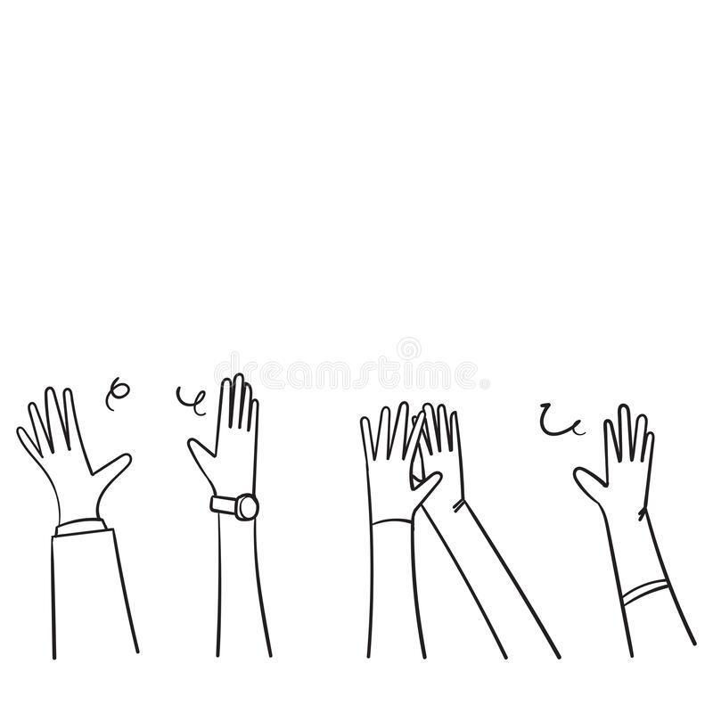 Free Hand Drawn People Raise Hands Up Applause Clapping For Vote Volunteer And Cheering Concept. Doodle Vector Design Stock Photo - 177668270