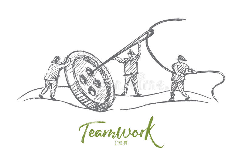 Hand drawn people sewing button together in team. Vector hand drawn teamwork concept sketch. People trying to sew big button with huge needle together. Lettering stock illustration