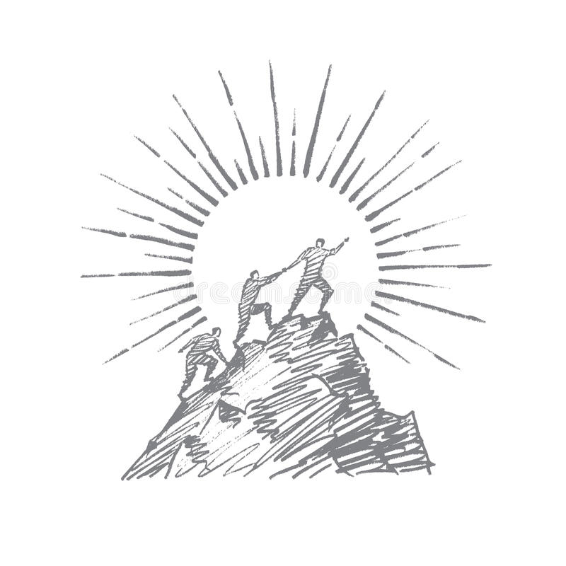 Hand drawn people trying to climb up mountain royalty free illustration