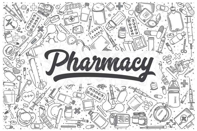 Hand drawn pharmacy vector doodle set. Hand drawn pharmacy doodle set. Lettering - Pharmacy royalty free illustration