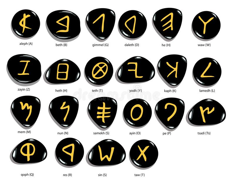 Hand drawn Phoenician alphabet written in stone, white background. Hand drawn Phoenician alphabet written in stone , font set, isolated on white background vector illustration