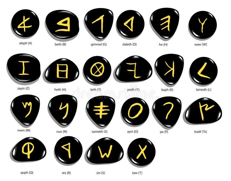 Hand drawn Phoenician alphabet written in stone,  white background. Hand drawn Phoenician alphabet written in stone , font set,  isolated on white background royalty free illustration