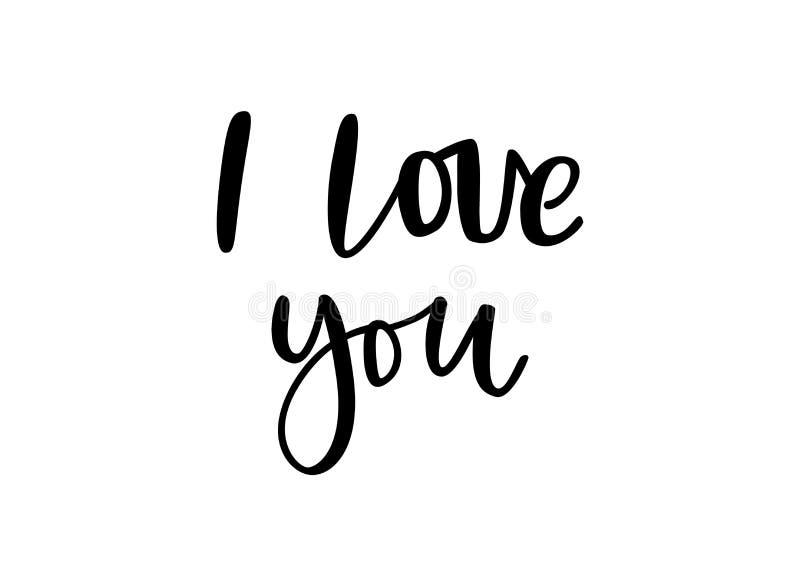 Hand drawn phrase I love you for social media, blog, vlog, web, banner, card, print. Lettering love you vector isolated stock illustration