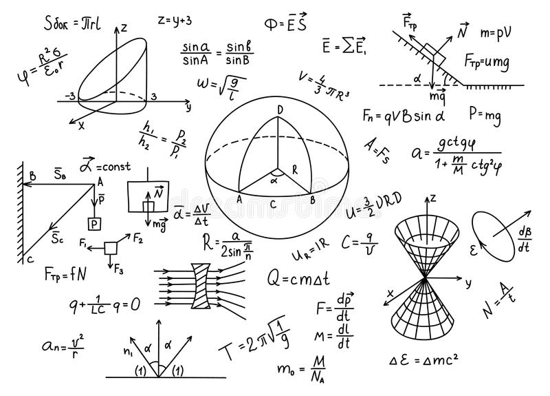 Hand drawn physics formulas Science knowledge education. royalty free illustration